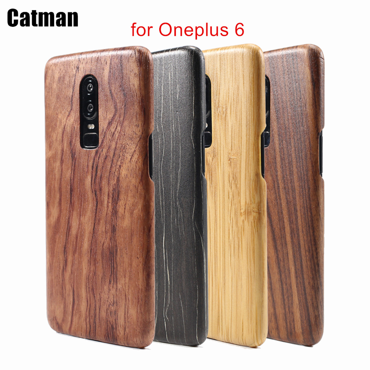 cheaper 5faef 801ea oneplus 6 case catman original genuine real wood funda bamboo rosewood  luxury back cover phone shell one plus 6 case