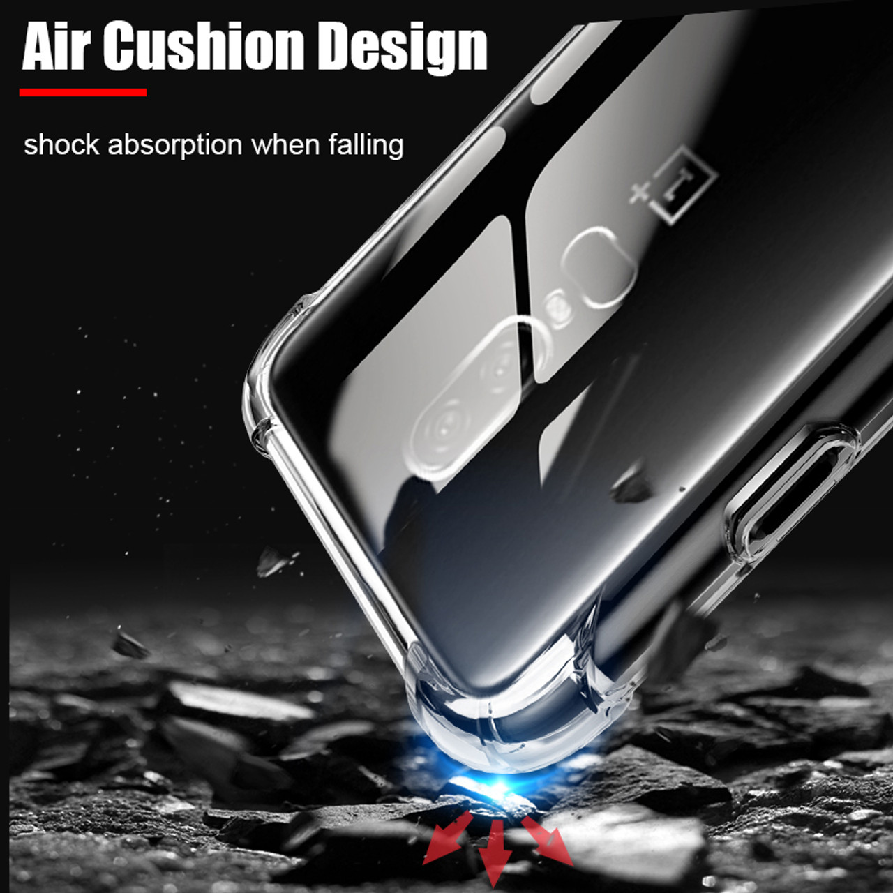 huge selection of 9df9a 7ca04 Military Protection TPU Cover For Oneplus 6 Case [Air Cushion] Shockproof  Soft One Plus 6 Oneplus6 Transparent Phone Cases