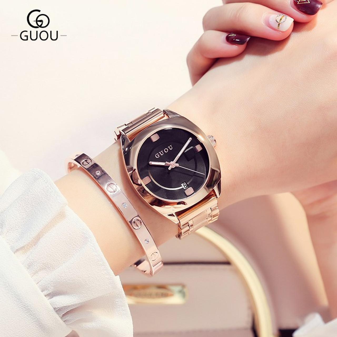 d349d2a38d2a ... GUOU Watch Women Top Luxury Steel Bracelet Auto Date Women Watches  Fashion Exquisite Ladies saat relogio ...