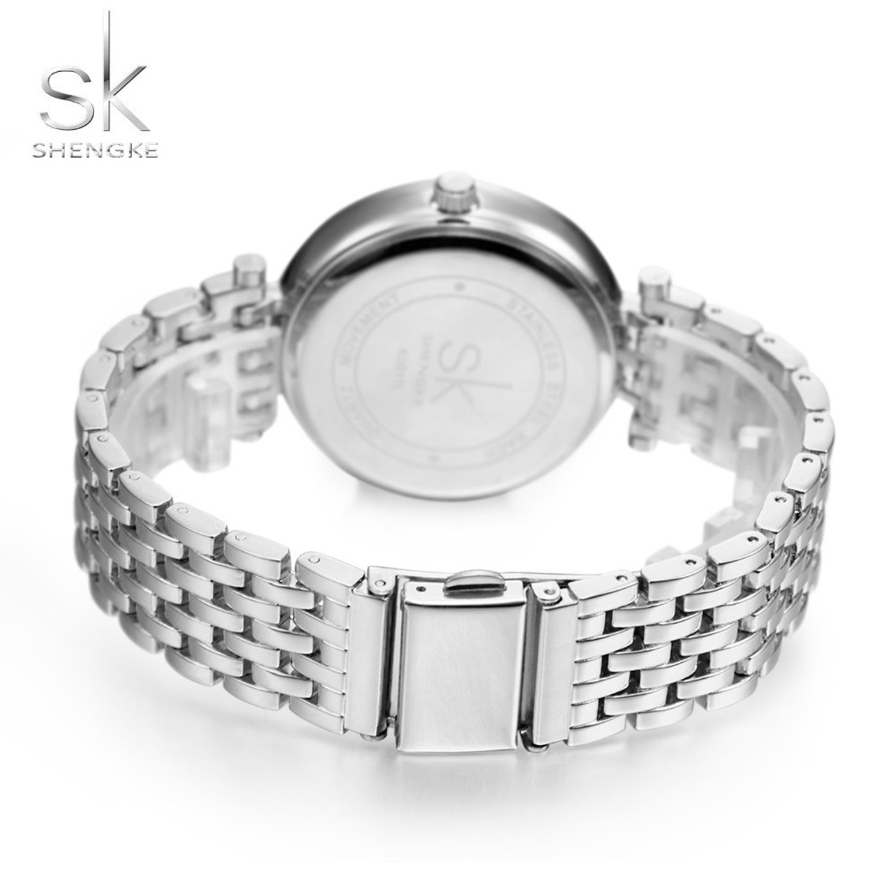 Shengke Luxury Women Watch Brands Crystal Sliver Dial Fashion Design