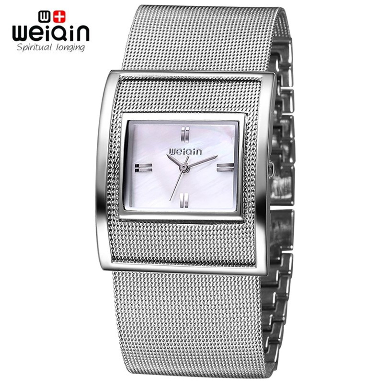 f0a8d426570 WEIQIN Silver Women Watches Luxury High Quality Water Resistant Montre  Stainless Steel Dress Woman Wrist Watches ...