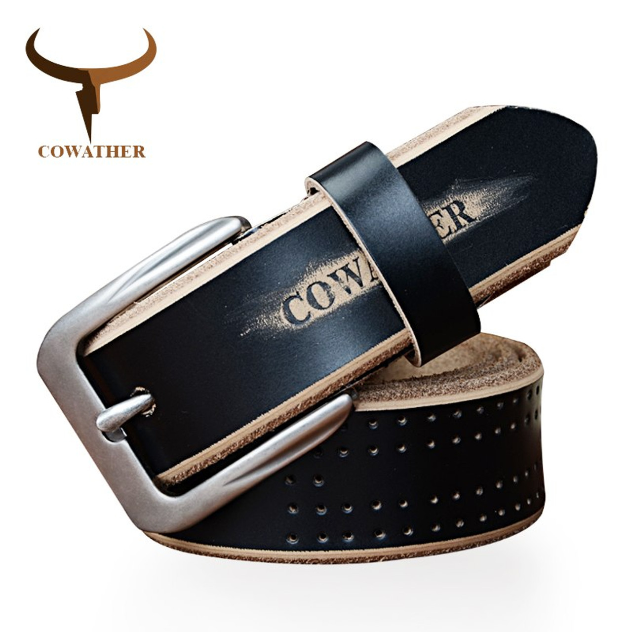 COWATHER new fashion style cow genuine leather belts for men luxury pin buckle high quality black brown coffee free shipping