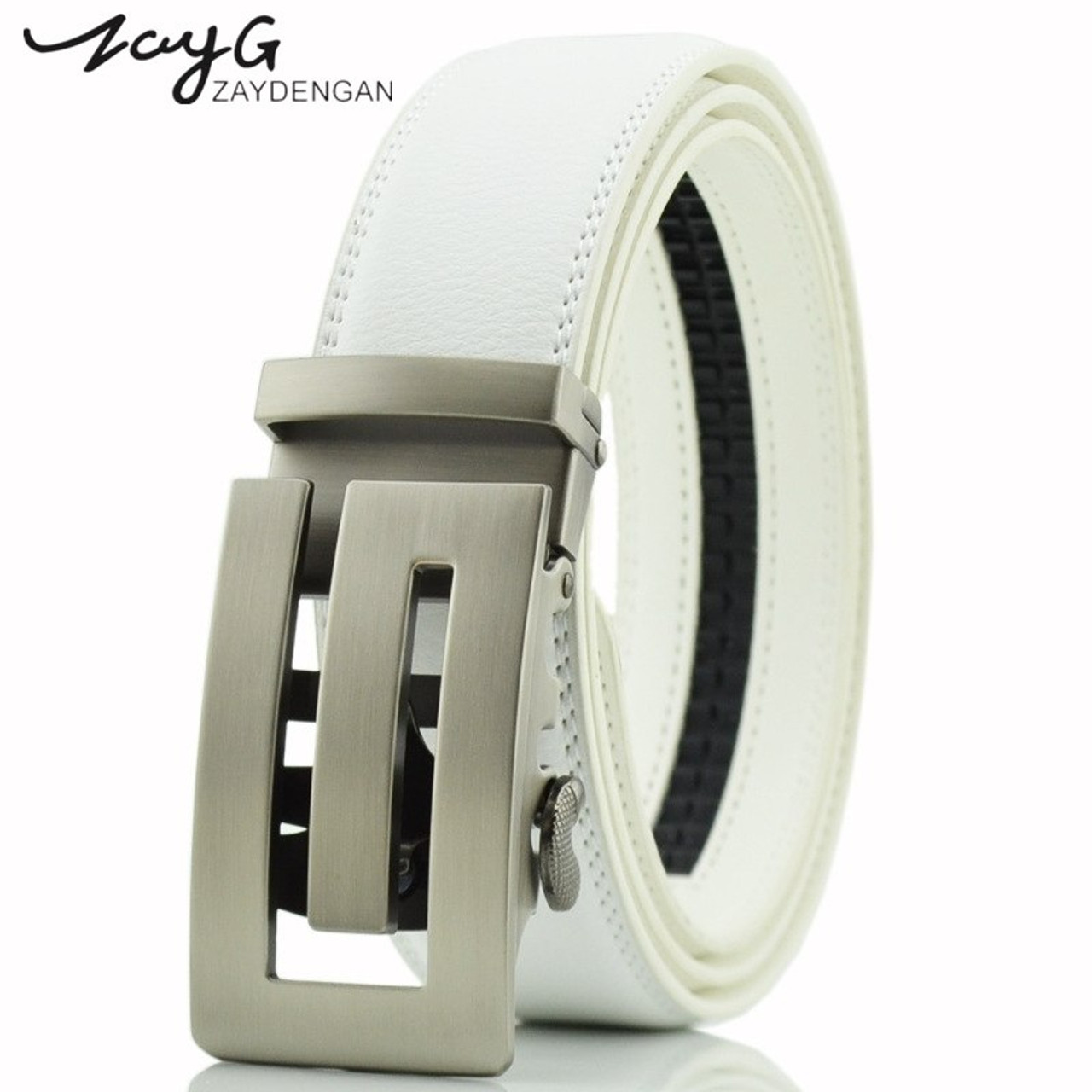 Men's Belts Zayg Men Business Style Gold Steel Buckle Belt Unique Leather Strap Sliding Ratchet Alloy Automatic Buckle Men Top Quality Belt