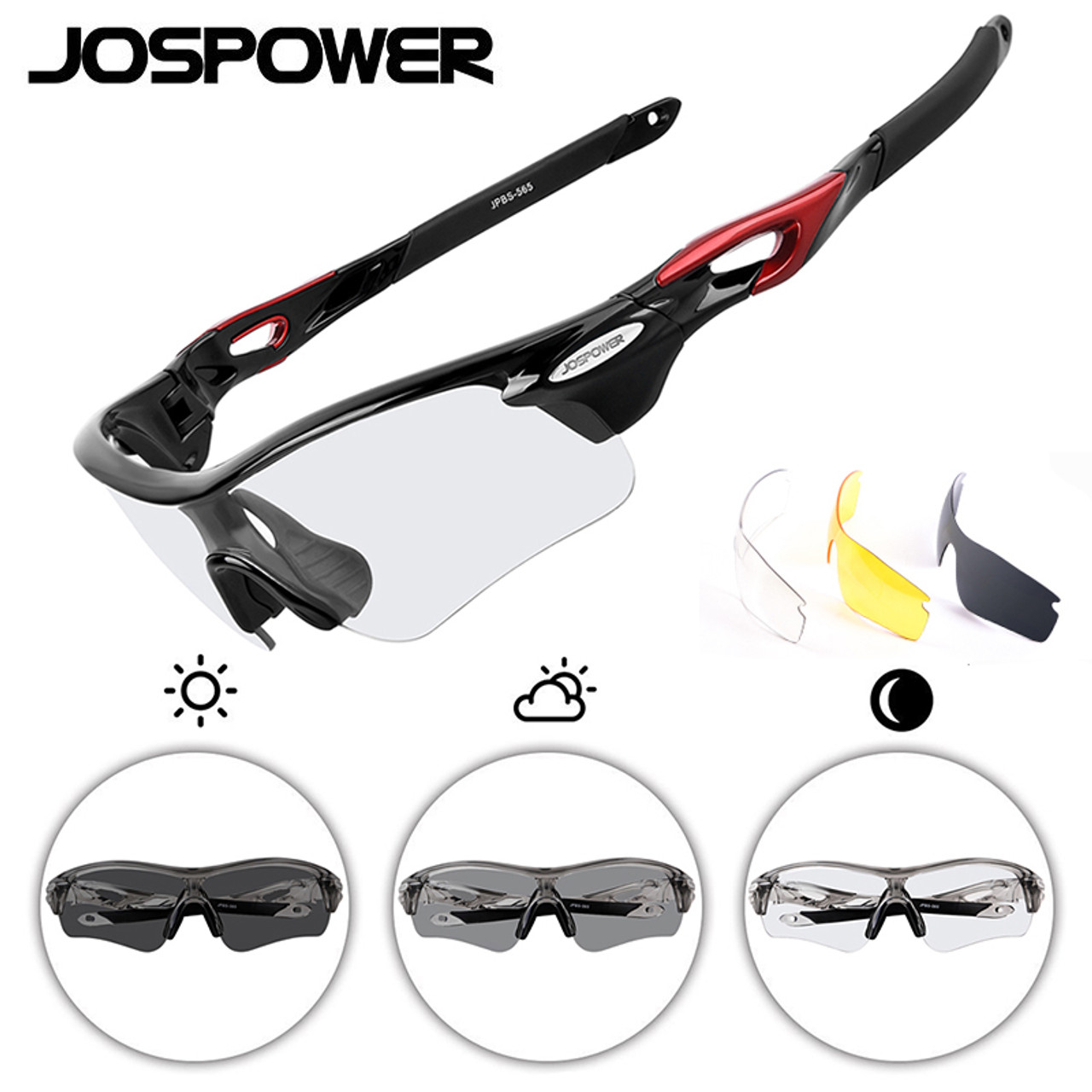 nuovo concetto b7107 8ebd7 JOSPOWER Photochromic Cycling Glasses Sunglasses UV400 Polarized Bike  Eyewear Goggles Outdoor Sports 3 Lens occhiali ciclismo
