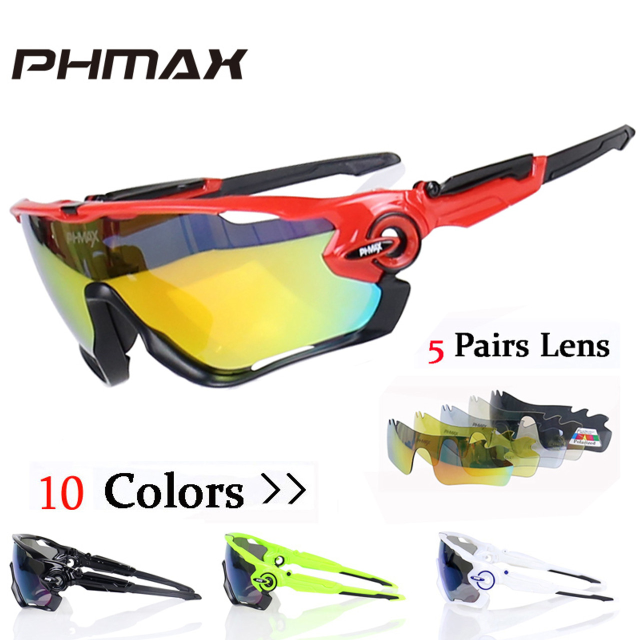 dcdb4ea9c6 PHMAX Polarized 5 Lens Cycling Eyewear MTB Bicycle Sun Glasses Cycling  Sunglasses Mountain Bike Goggles Gafas de Ciclismo - OnshopDeals.Com