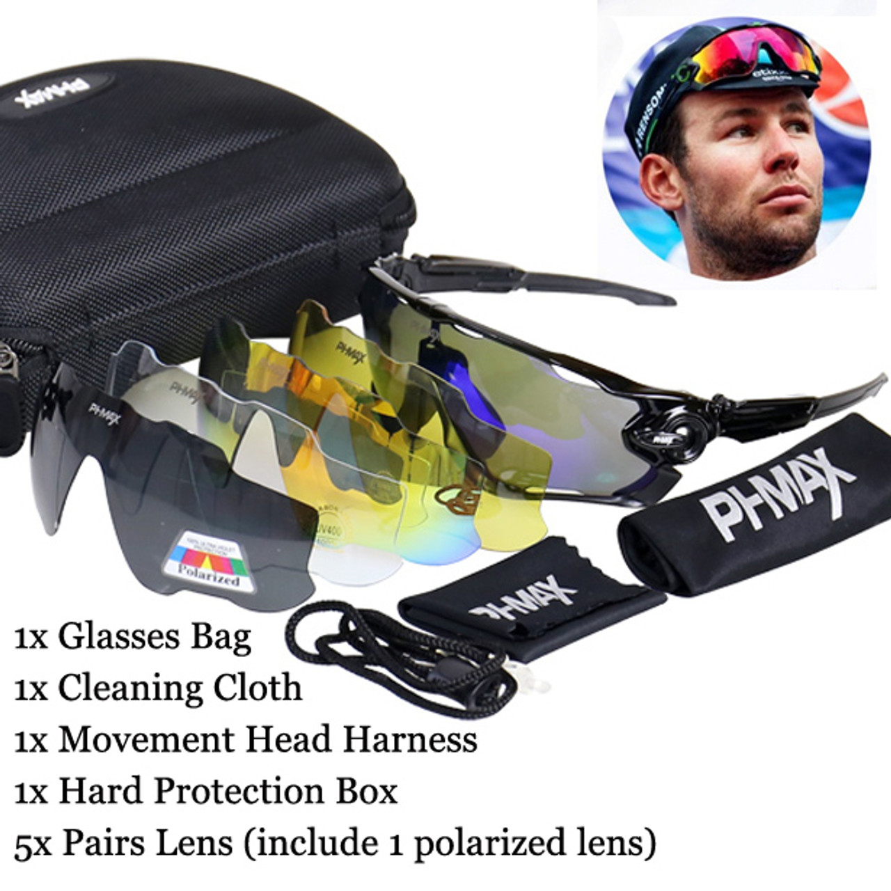 05a2db9a85 ... PHMAX Polarized 5 Lens Cycling Eyewear MTB Bicycle Sun Glasses Cycling  Sunglasses Mountain Bike Goggles Gafas ...