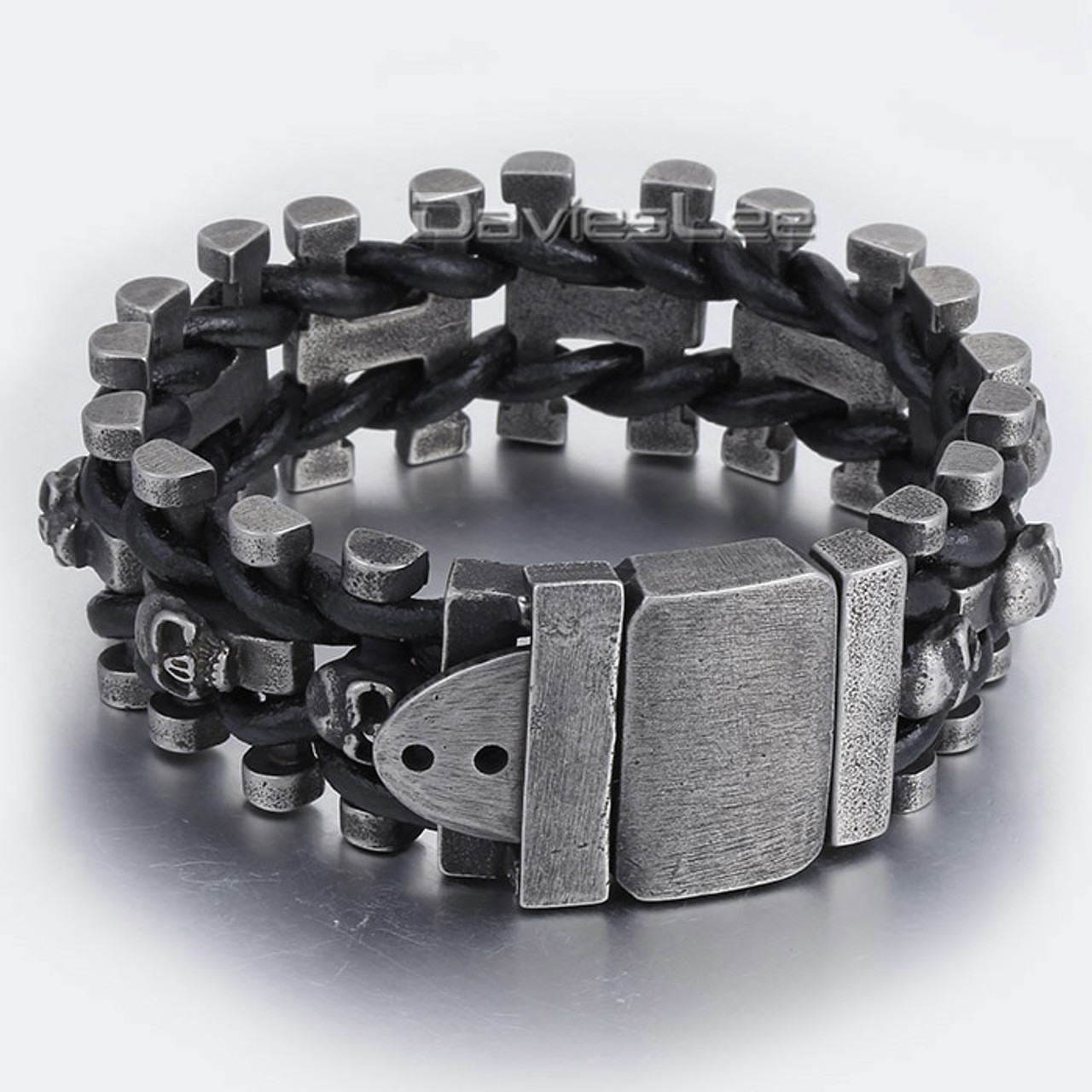 Men/'s Black Genuine Leather Stainless Steel 316L Cross Braided Bracelets