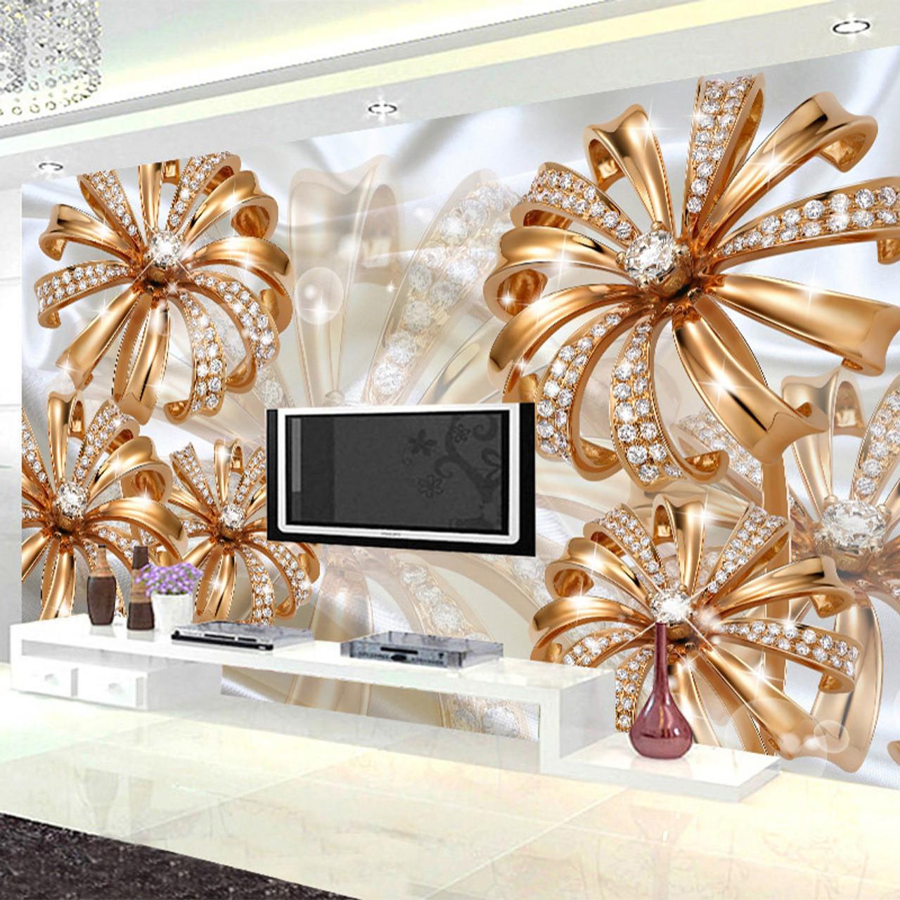 Custom Photo Wallpaper 3d Stereo Gold Diamond Flower Jewelry Mural
