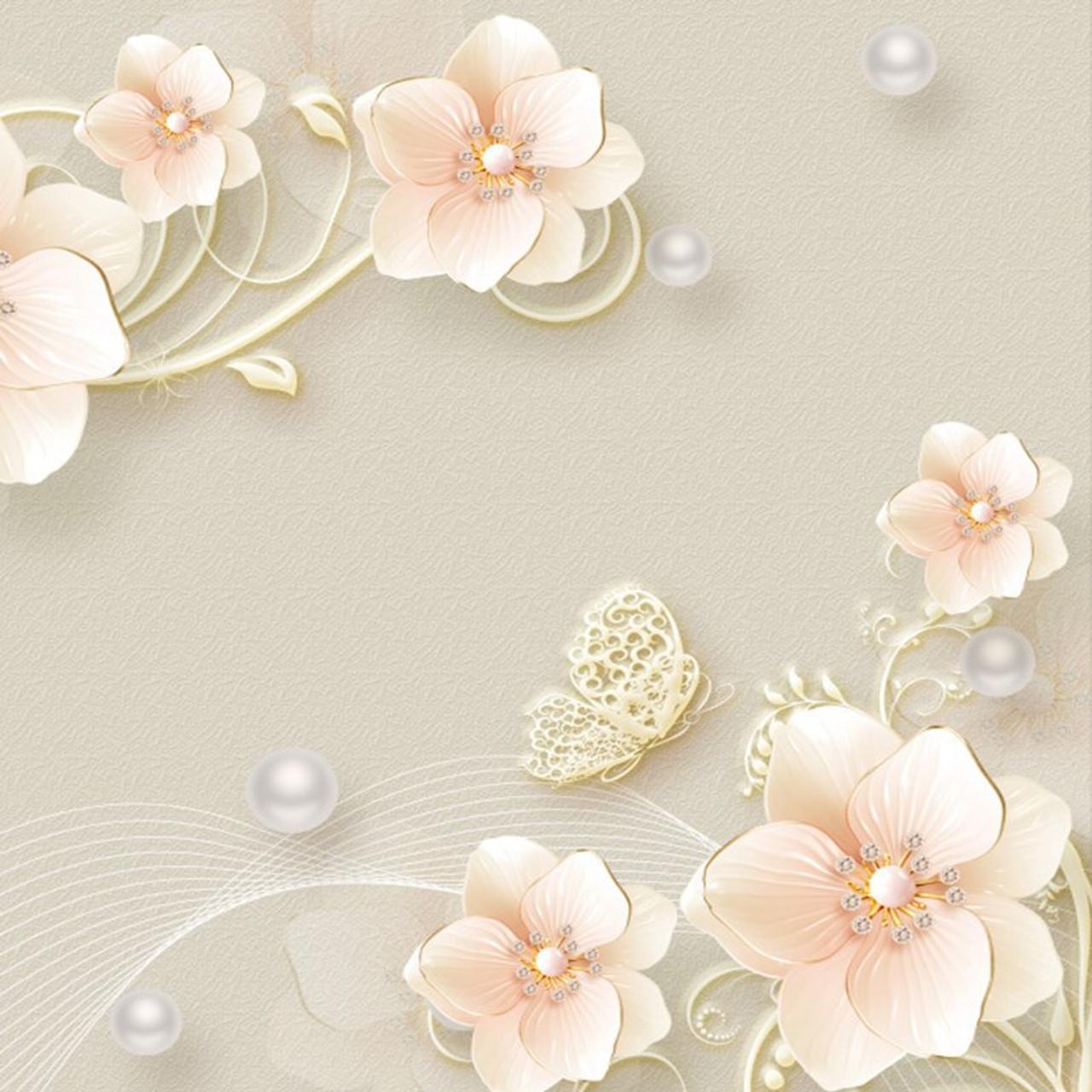 Custom Mural Wallpaper 3d Stereo Relief Jewelry Flower Modern