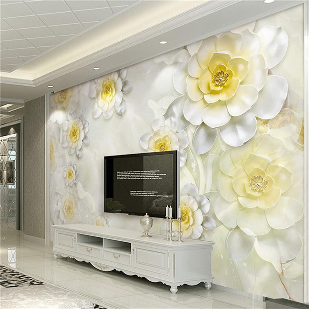 Custom 3d Mural Wallpaper Modern White Flower Stereo Relief Fresco