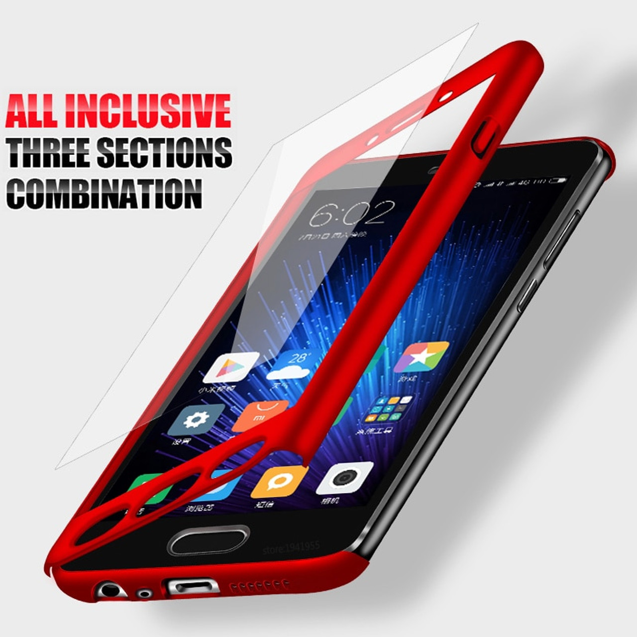 finest selection 7b6d9 e362c H&A 360 Degree Full Body Cover Case For Xiaomi Redmi 5A 4X 4A Note 5A Phone  Case With Glass For Redmi Note 5A Phone Bags Case