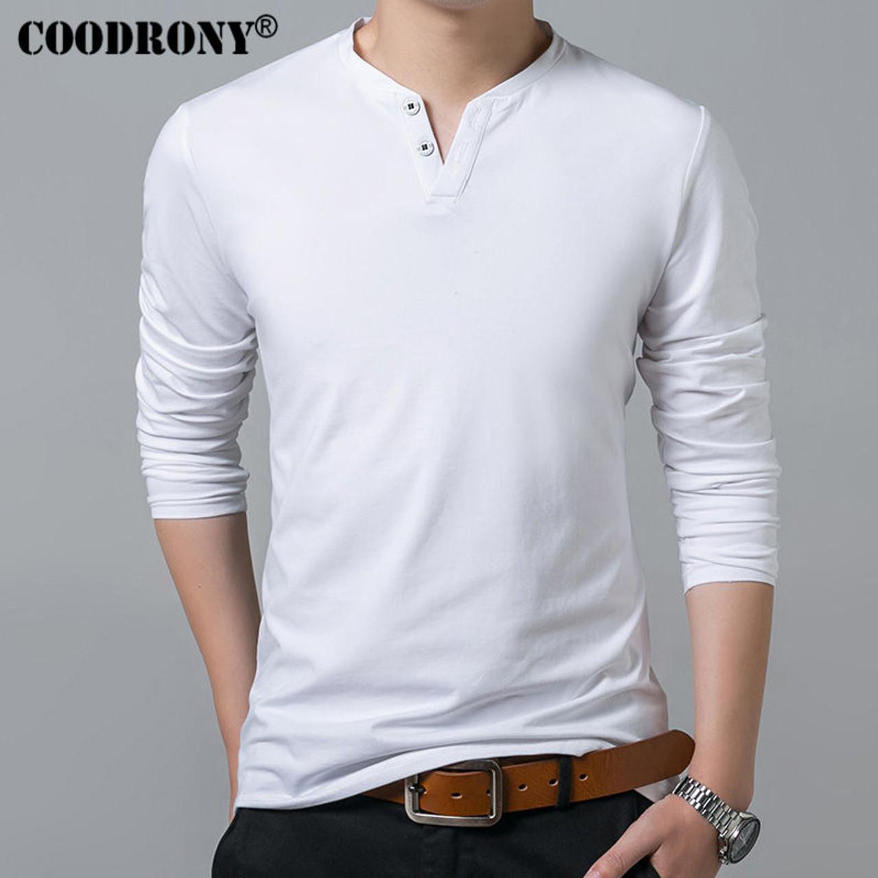 63d479a14 ... COODRONY T-Shirt Men 2018 Spring Autumn New Long Sleeve Henry Collar T Shirt  Men ...