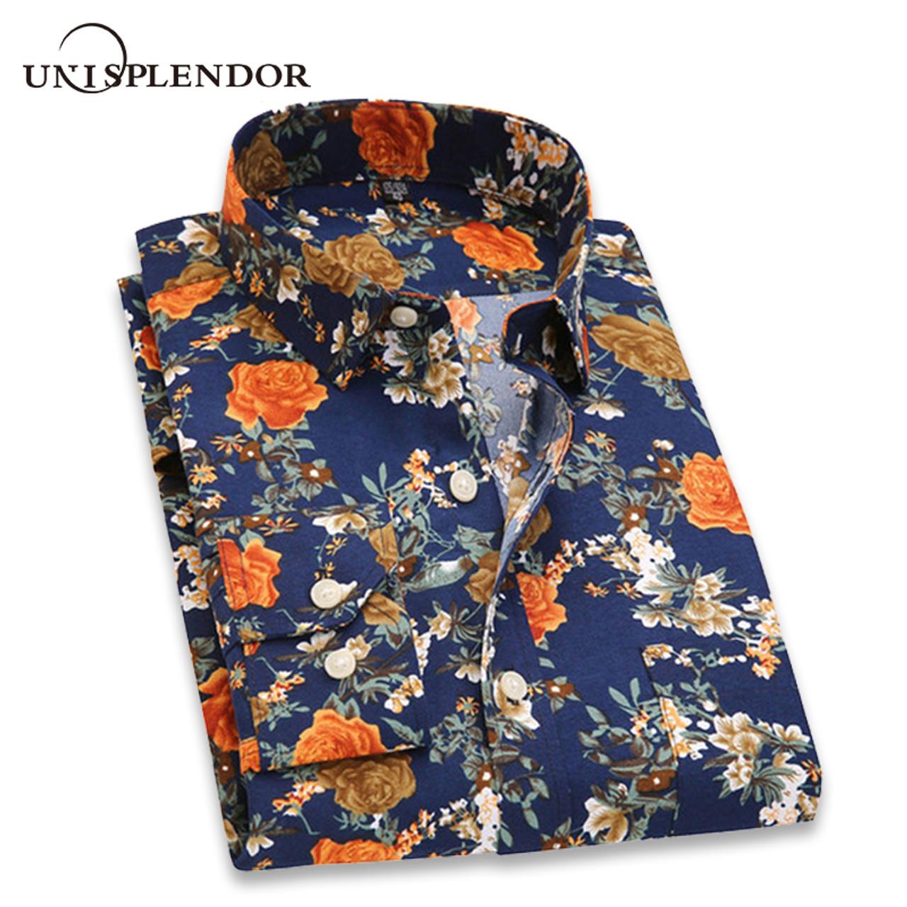 1f3fcfe3258d83 ... 2018 Retro Floral Printed Men Casual Shirts Classic Men Dress Shirt  Men's Long Sleeve Brand New ...