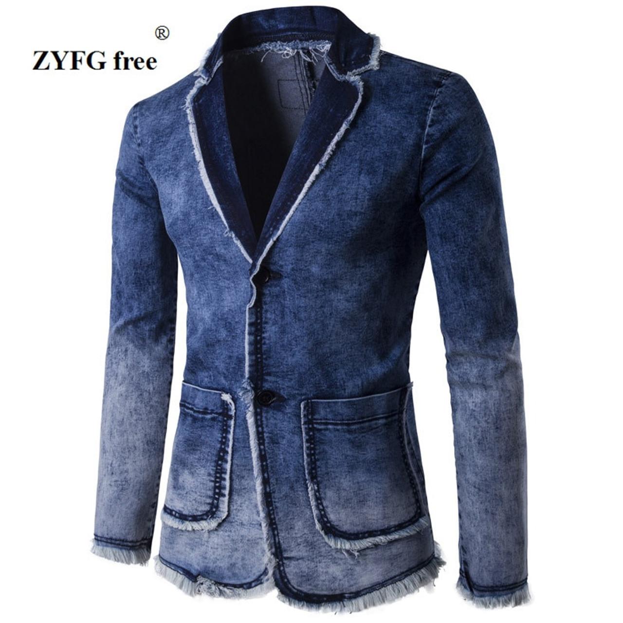 ed1c7be8037 Casual Denim Jacket Suit Men s 2018 New Spring Fashion blazer slim fit  masculino Trend Jeans suit ...
