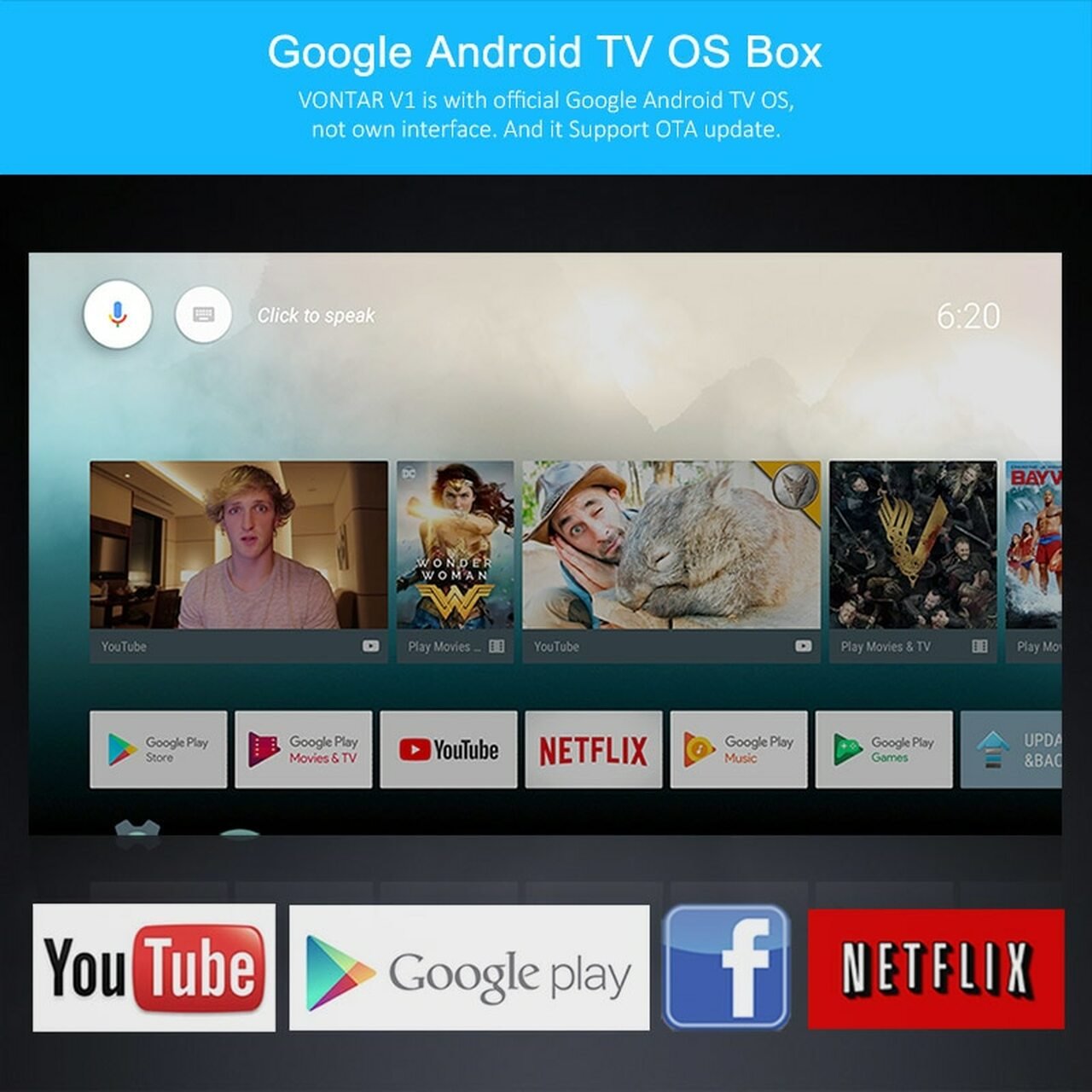 2018 VONTAR V1 Google Voice Control Smart TV BOX Android 7 1 Amlogic S905W  2GB 16GB Streaming Google Play Netflix PK X96 mini