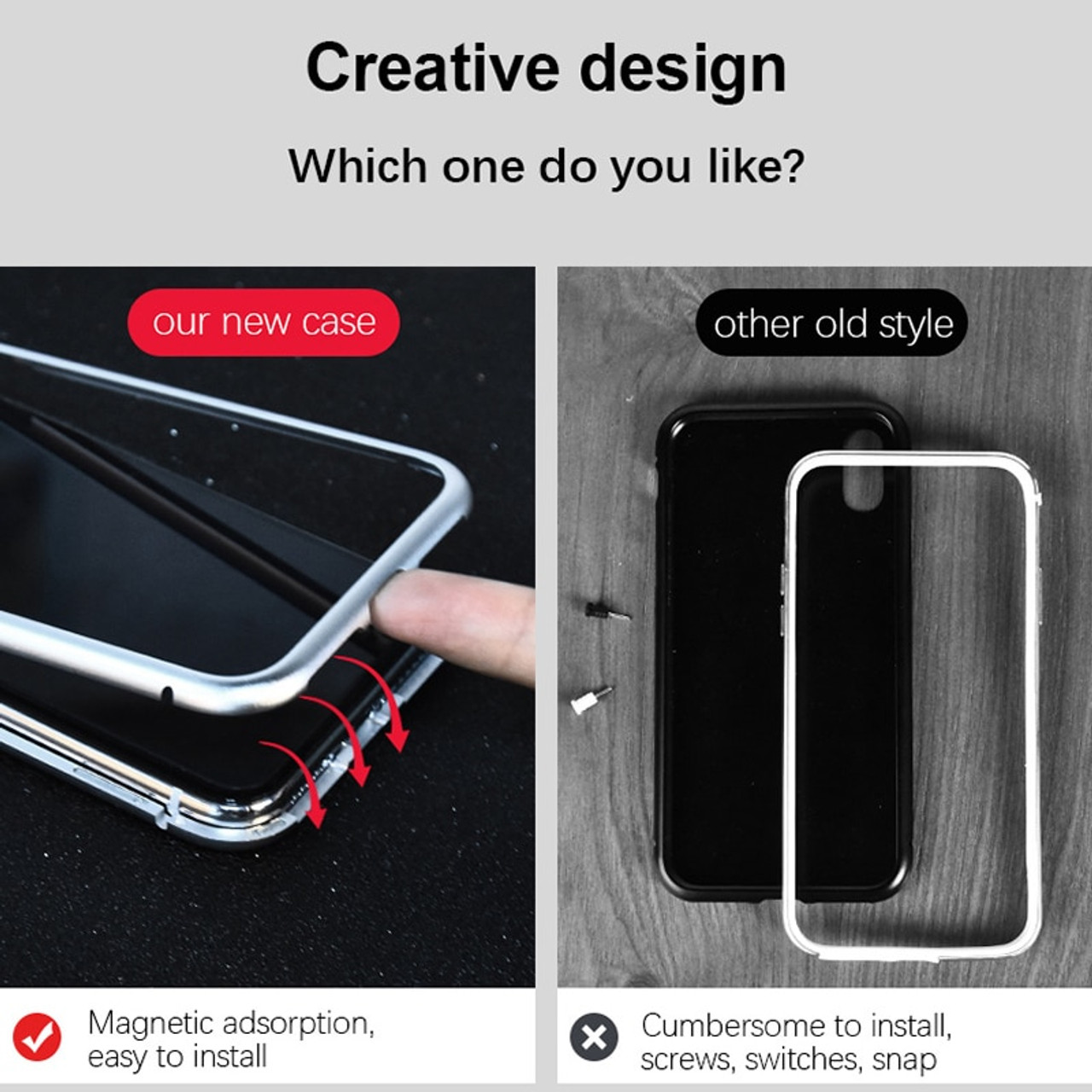 the best attitude 3e02a 4e95b OLAF Magnetic Adsorption Metal Case For iphone X 7 8 Case Luxury Magnet  Tempered Glass Case Cover For iphone 8 7 plus 6s 6 Coque