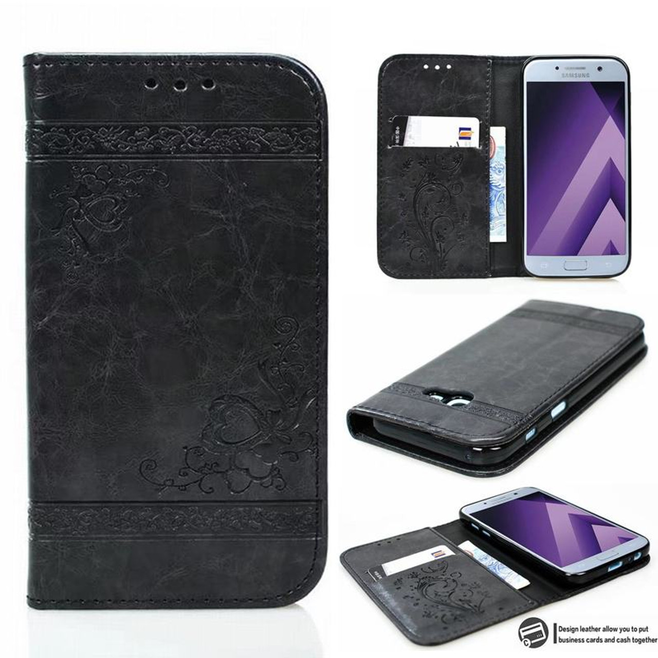 huge discount d7f81 8b12b Embossed Wallet Case For Samsung Galaxy A5 2017 Case Leather Flip Cover  Samsung Galaxy A5 2016 Cover Cases Mobile Phone Shell