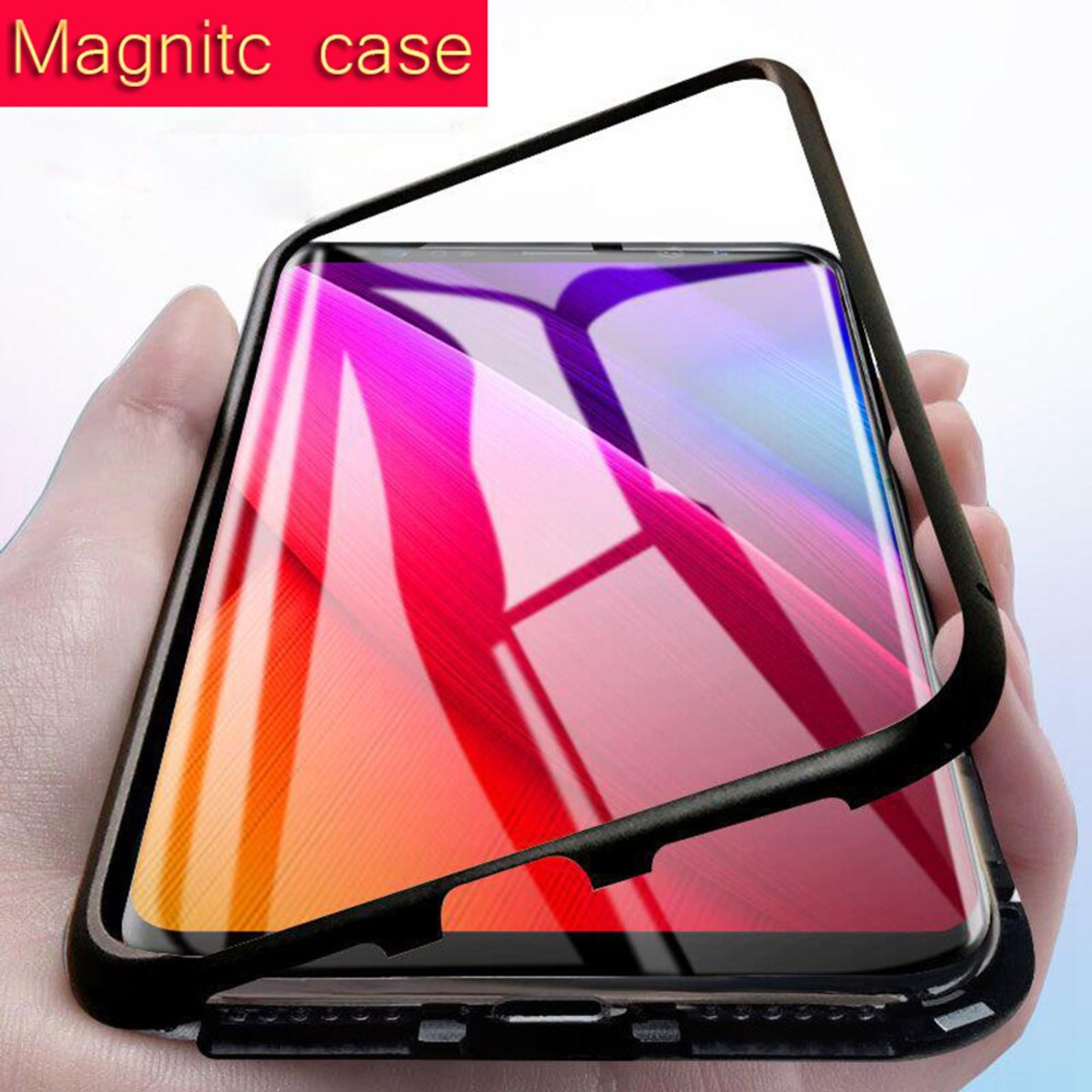 newest bf55a be237 Magnetic Adsorption Case for Samsung Galaxy S8 S9 Plus Note 8 9 S7 Edge  Tempered Glass Cover Magnet Cases for Samsung S8 S9 Plus