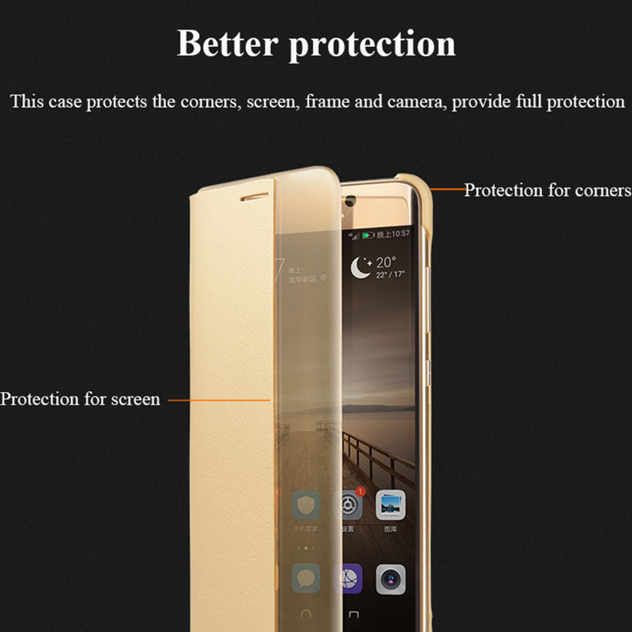 cheap for discount 20dc3 9643a For Huawei P10 Case P20 Pro PU Leather Flip Cover Smart Window View Phone  Cases For Huawei P10 Plus