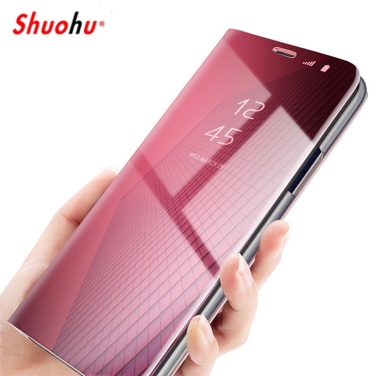 best sneakers c61a2 1fbc6 SHUOHU Luxury Mirror Flip Case For iPhone 7 8 Plus Cases Smart Cover For  iPhone 6 6s Plus Phone Holder Case For iPhone X Housing
