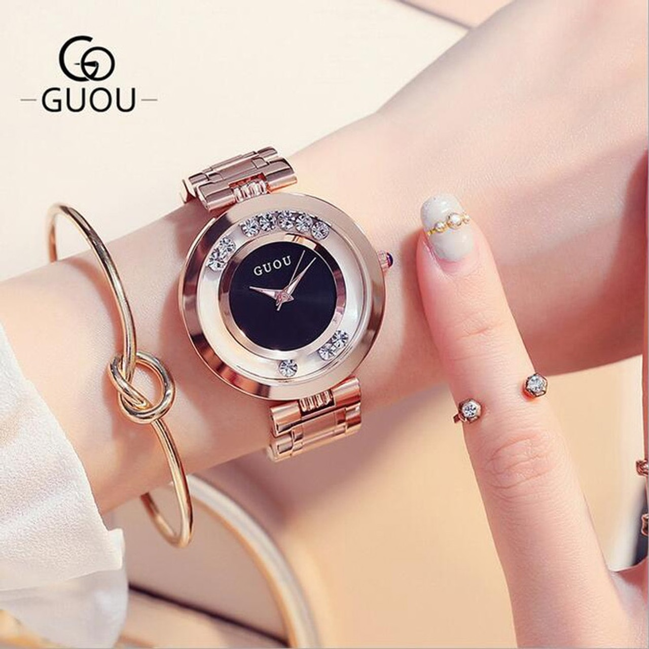 3dfd65c6df99 GUOU Watches Women Top Luxury Rhinestone Wristwatches Fashion Rose Gold Ladies  Watch Full Steel Clock saat ...
