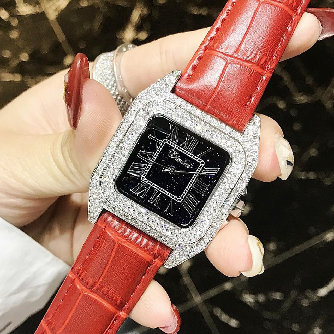 6bb8a19b8 luxury full diamond women square bracelet watches ladies fashion luxury full  diamond women square bracelet watches