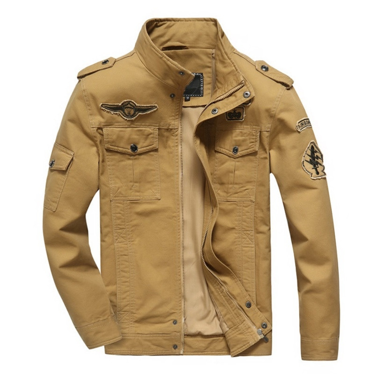 4686a1a43b4 hot sale spring Autumn Mens military Denim jacket jean cotton Air Force One  coat army soldier ...
