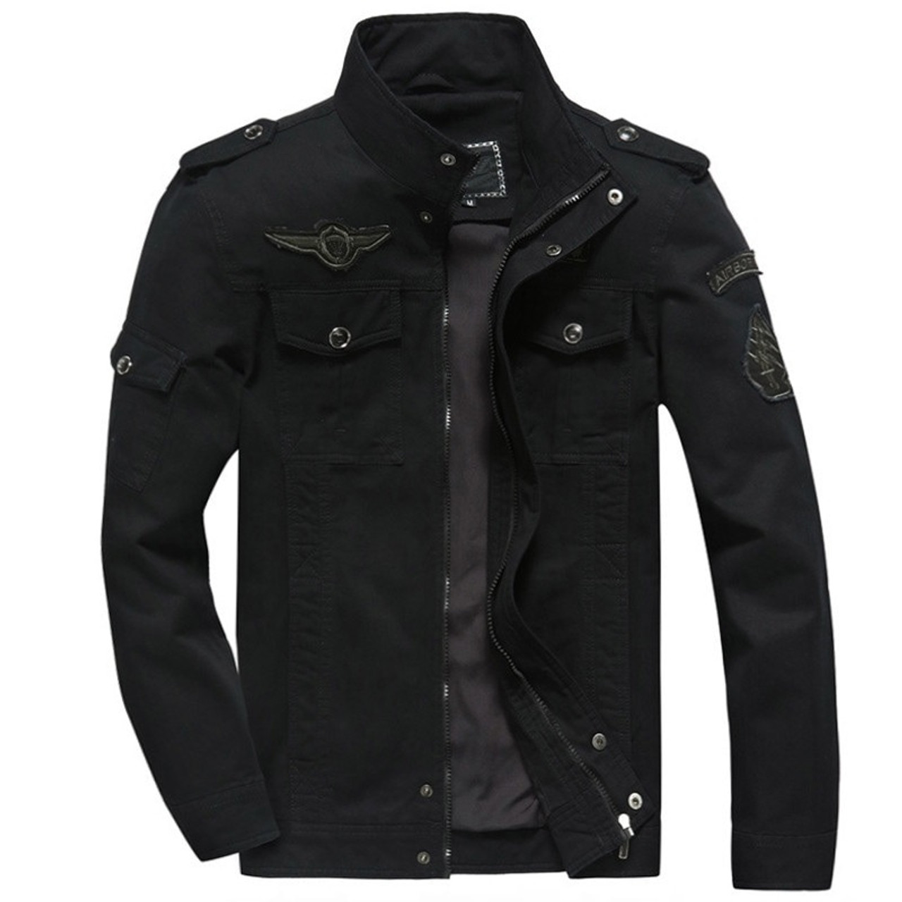 0f863aab141 ... hot sale spring Autumn Mens military Denim jacket jean cotton Air Force  One coat army soldier ...