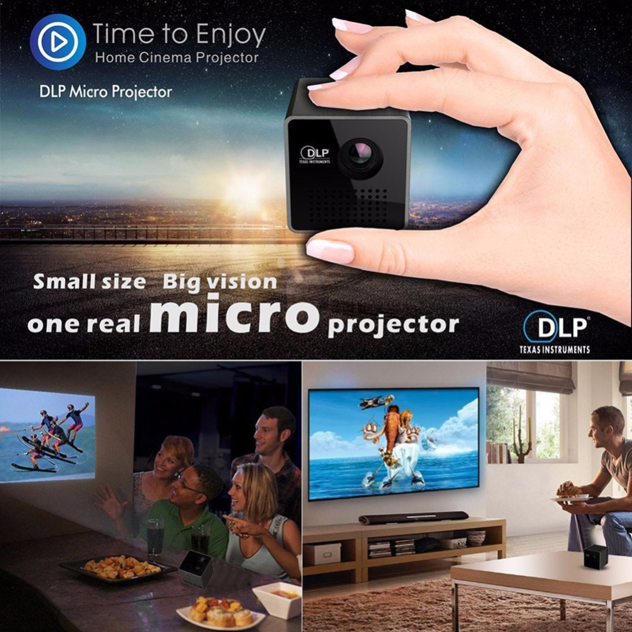 Salange P1 Plus Pico Projector,DLP Smart WiFi Proyector,Support Miracast  DLNA Airplay,Built-in Battery Portable Projetor