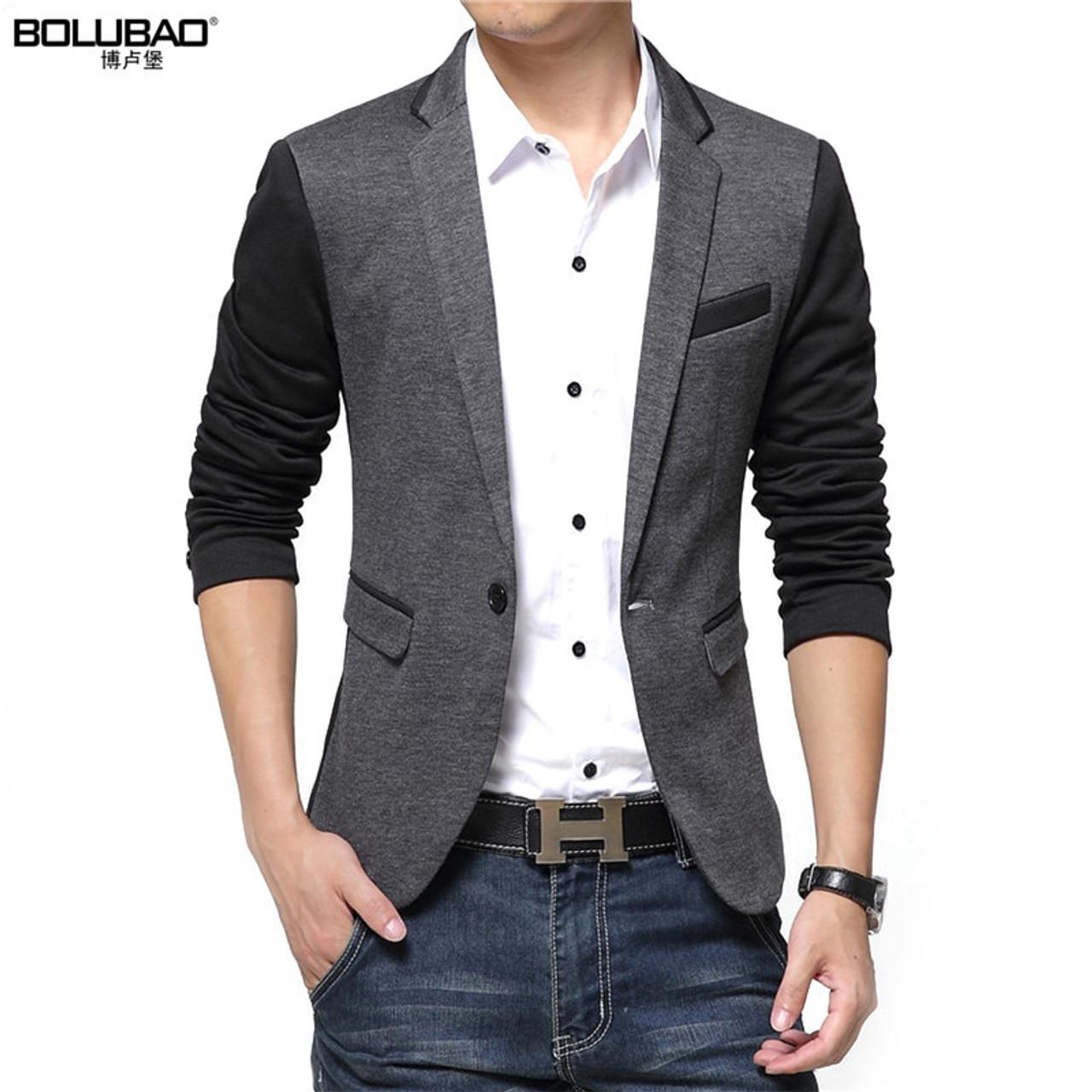 4c8c2a3c3ccc ... New Men Blazer Fashion Luxury Woolen Blends Patchwork Slim Suit Jackets  Business Suit Male Wedding Dress ...