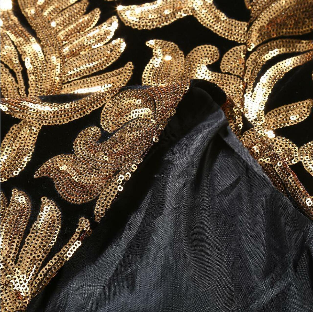 27bd3c66 ... PYJTRL Men Shawl Lapel Blazer Designs Plus Size 5XL Black Velvet Gold  Flowers Sequins Suit Jacket ...