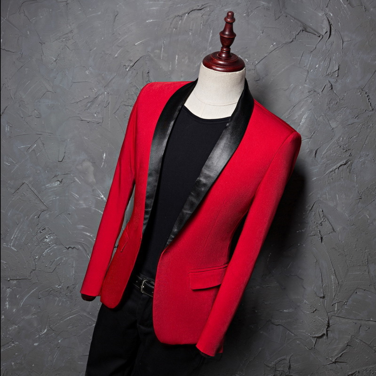 21aec8a456b2 ... PYJTRL Men's Red Shawl Collar Single Button Suits Jacket Wedding Party  Business Casual Blazer Coat Masculino ...