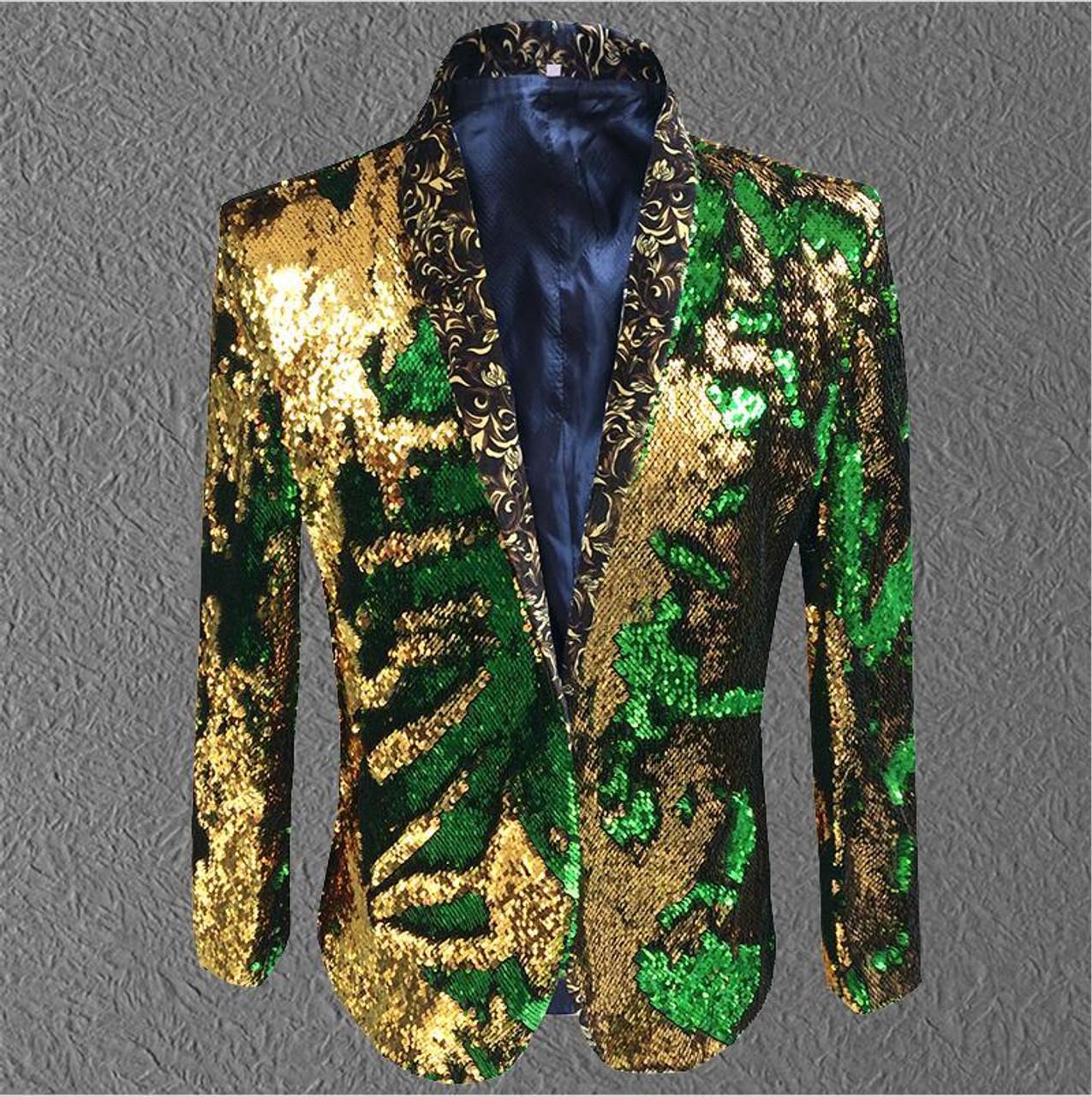 4fda8aa2df6a27 ... jacket men sequin Gold Green Blazer Men Suit Coat Male Costume Prom  Wedding Groom Outfit Singer ...