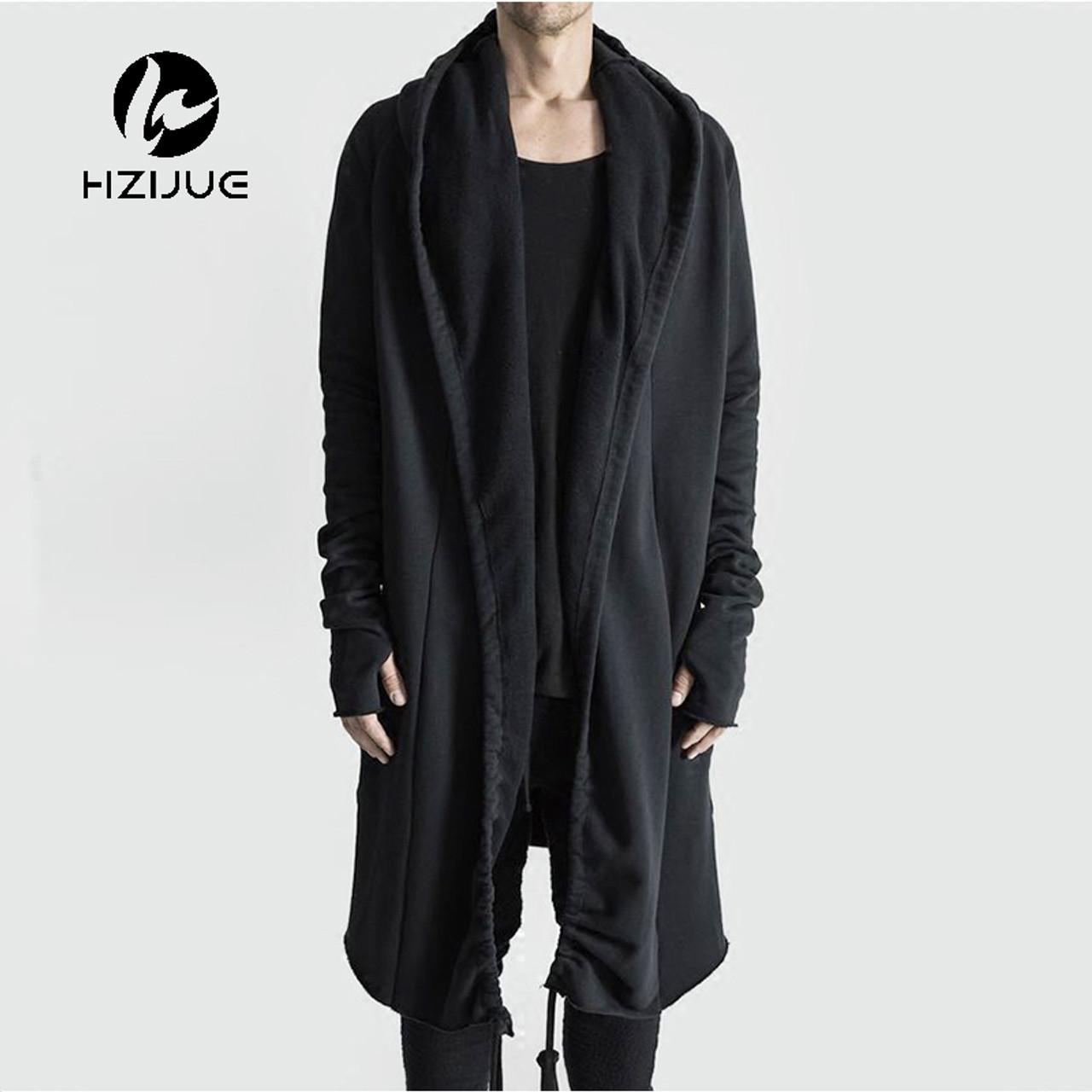 790c87acf32f HZIJUE Brand Kanye West Mantle Streetwear Hoodie Long Male Black mens  Hooded Cloak Hip Hop Longline ...