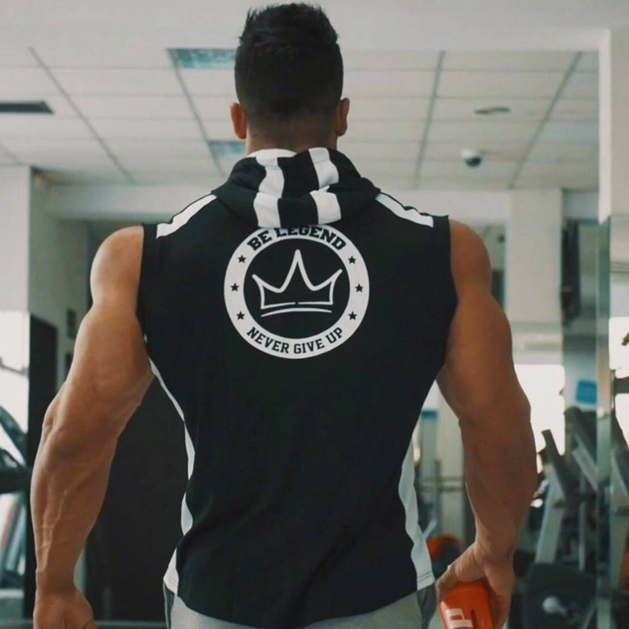 e22860ea ... SJ 2017 Fitness Men Bodybuilding Sleeveless Muscle Hoodies Workout  Clothes Casual Cotton Tops Hooded Tank Tops ...