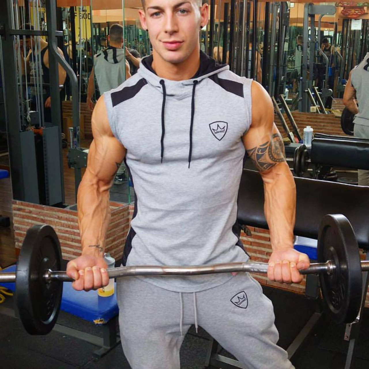 69c7d5fe83304 ... SJ 2017 Fitness Men Bodybuilding Sleeveless Muscle Hoodies Workout  Clothes Casual Cotton Tops Hooded Tank Tops ...