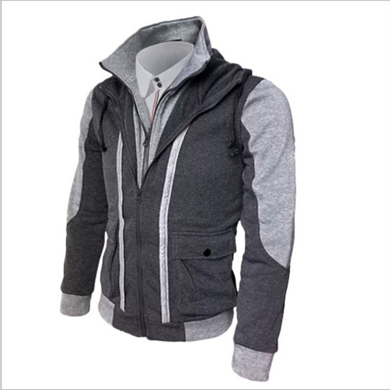 f5978112fa38 ... 2018 Hot sales New Fashion Casual Men s Hoodies Sweatshirts Slim Fit Men  Sweatshirts Double Zipper Mens ...