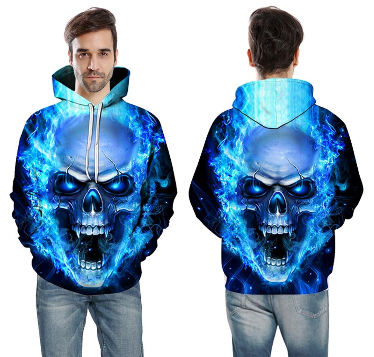 Mens Hoodies Flame Skull Funny Sweatshirt Hoodie Short Sleeve Shirt