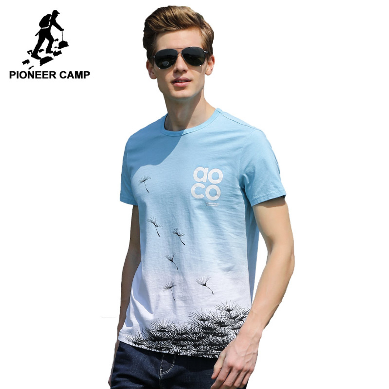 7eb44313a4af5 Pioneer Camp fashion Gradient T shirt men brand clothing new design summer T -shirt male ...