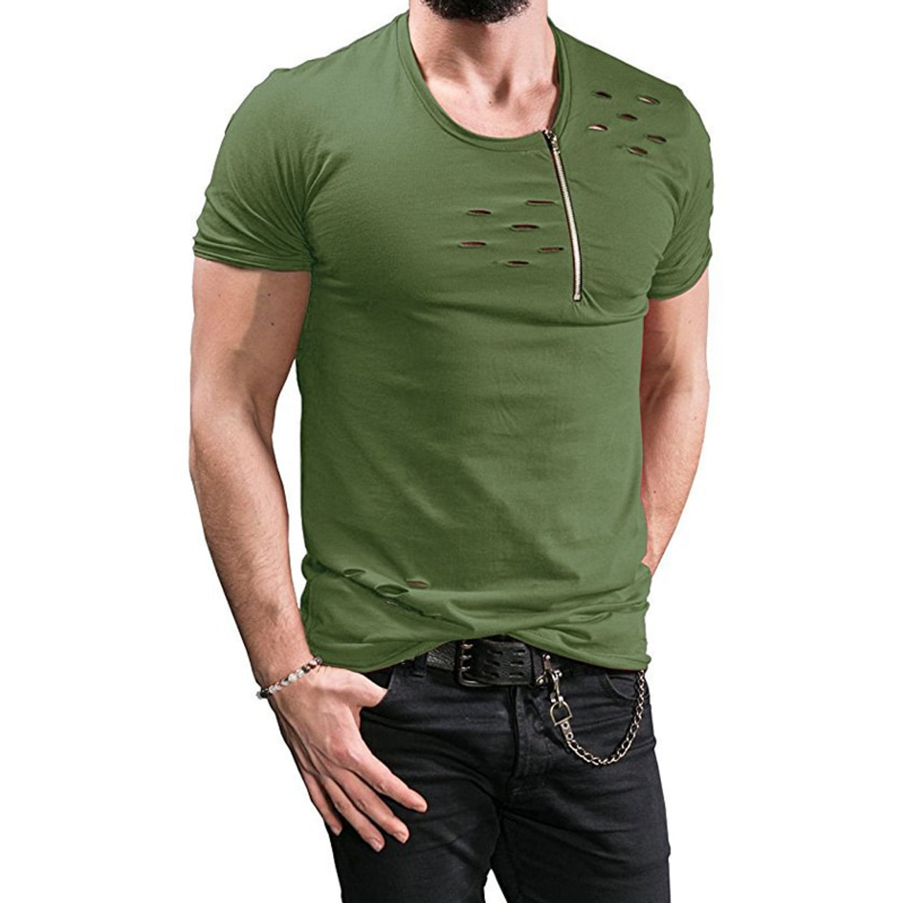 cd22b6482 ... Uwback 2018 New Summer T Shirt Men Plus Size 3XL Ripped Hole T-shirts  Men ...