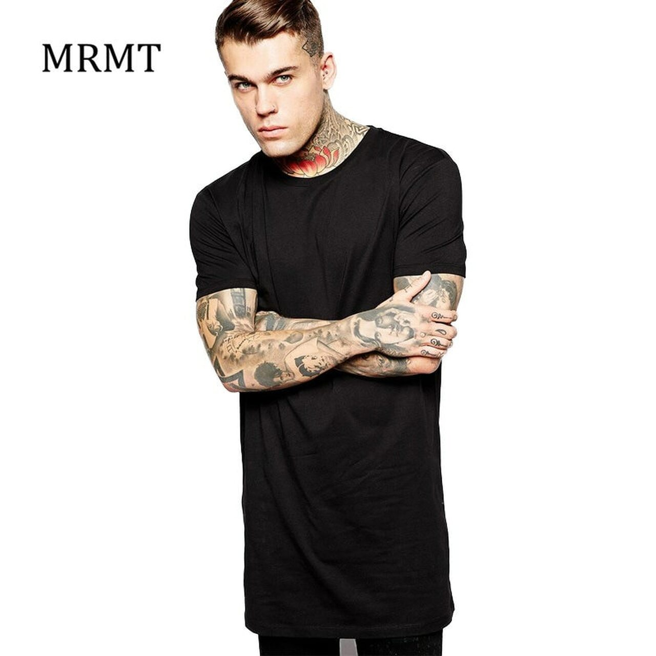 2018 Brand New Clothing Mens Black Long t shirt Men Tops Hip hop tee  T-shirt Men Hiphop Short Sleeve Longline casual Tee shirts