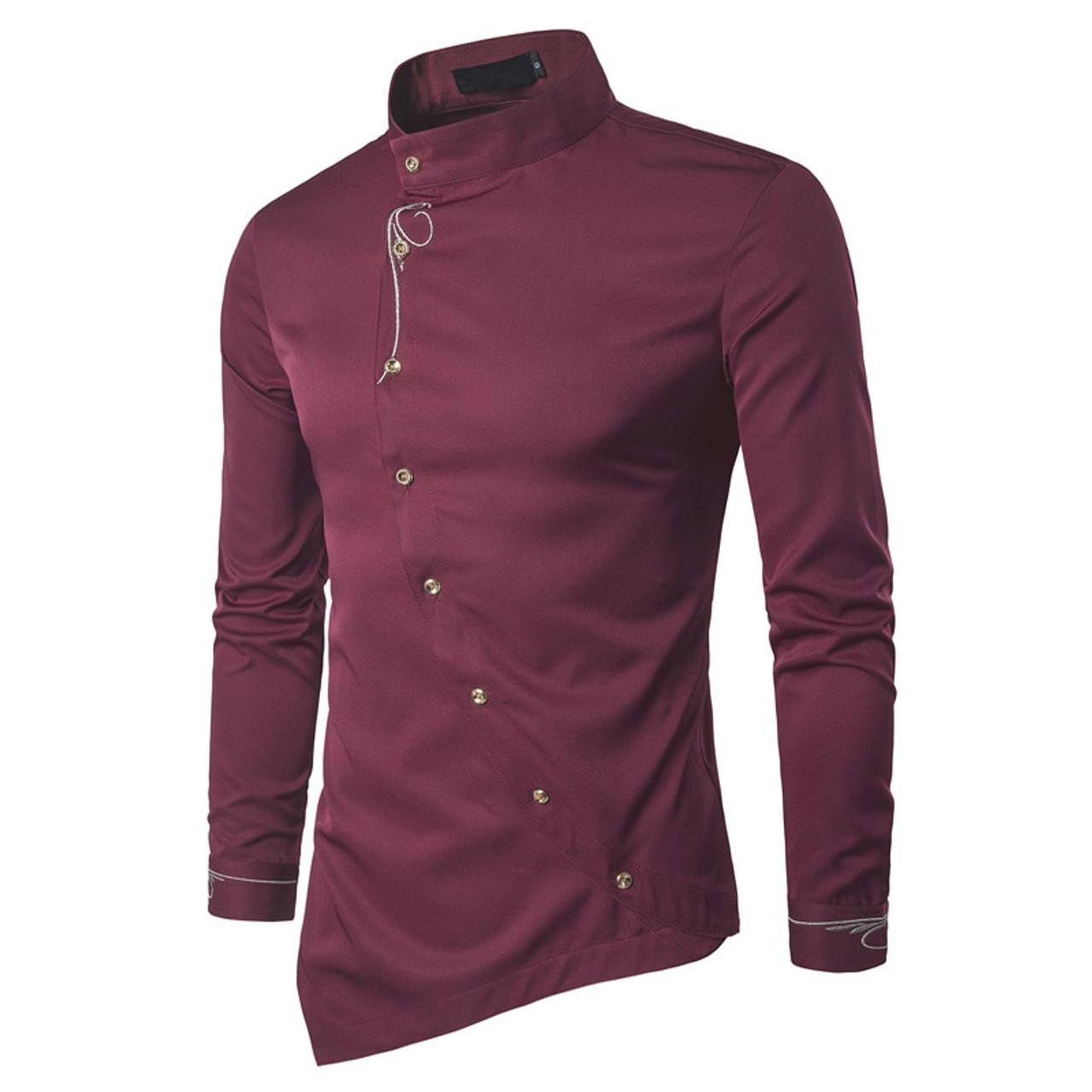 2018 Fashion New Male Shirt Long Sleeve Mens Clothes Oblique Button Dress  Shirts Mandarin Collar Men Tuxedo Shirts - OnshopDeals.Com