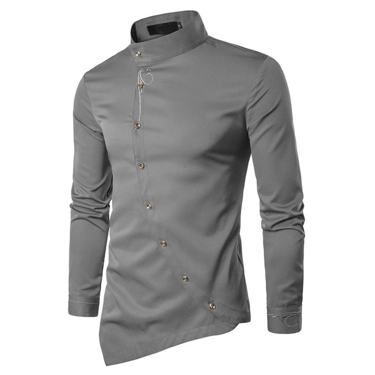 0303b5d6 ... 2018 Fashion New Male Shirt Long Sleeve Mens Clothes Oblique Button  Dress Shirts Mandarin Collar Men ...