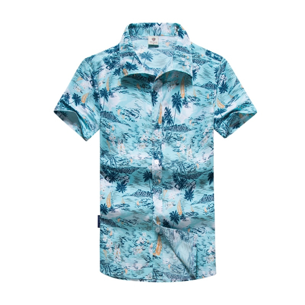Mens Hawaiian Shirts Short Sleeve Tropical Palm Shirts Men Summer Camisa Masculina Fancy Beach Shirts Men Plus Size 5XL