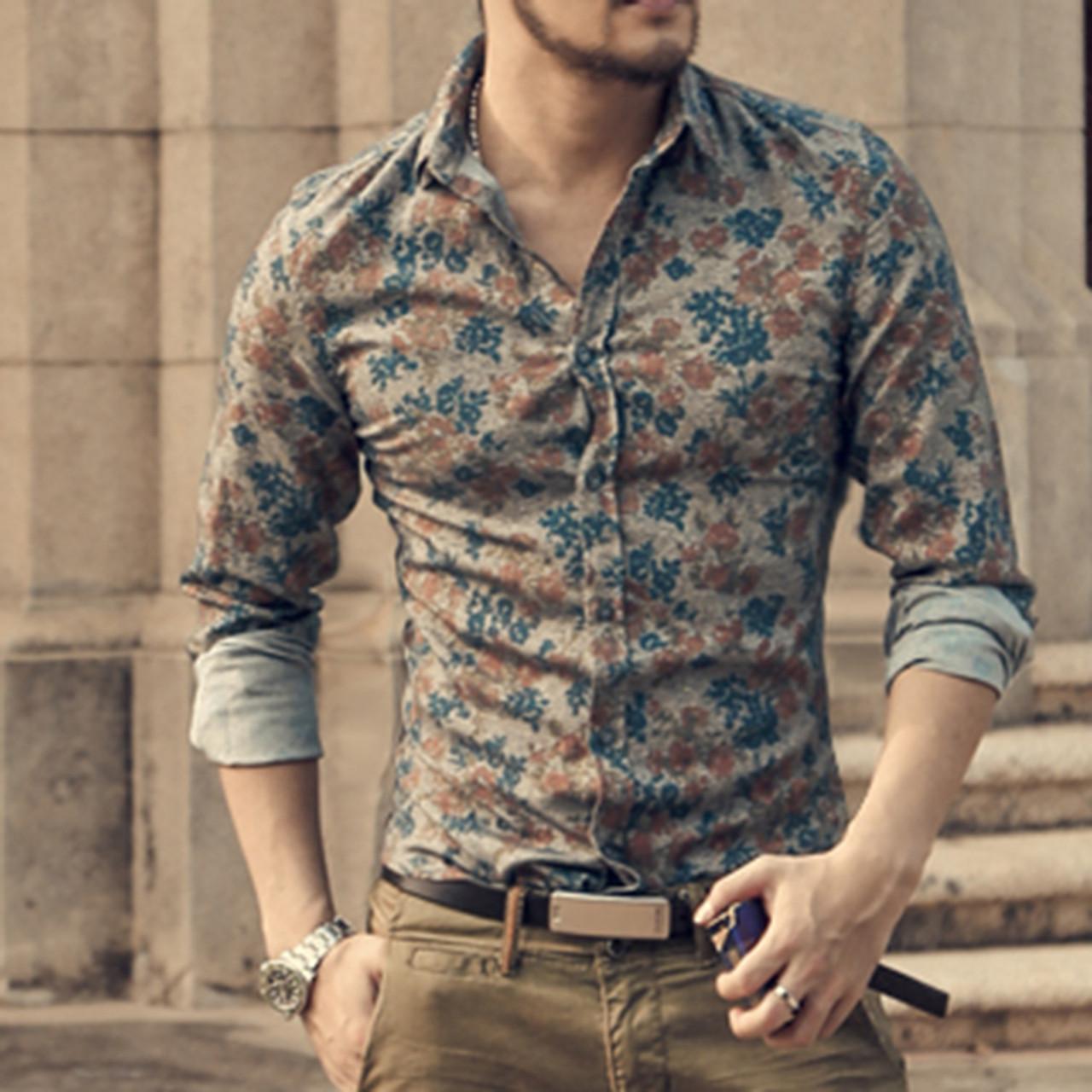 Fashion Men Casual Floral Shirts Formal Dress Shirts Long Sleeve Slim Fit Shirts