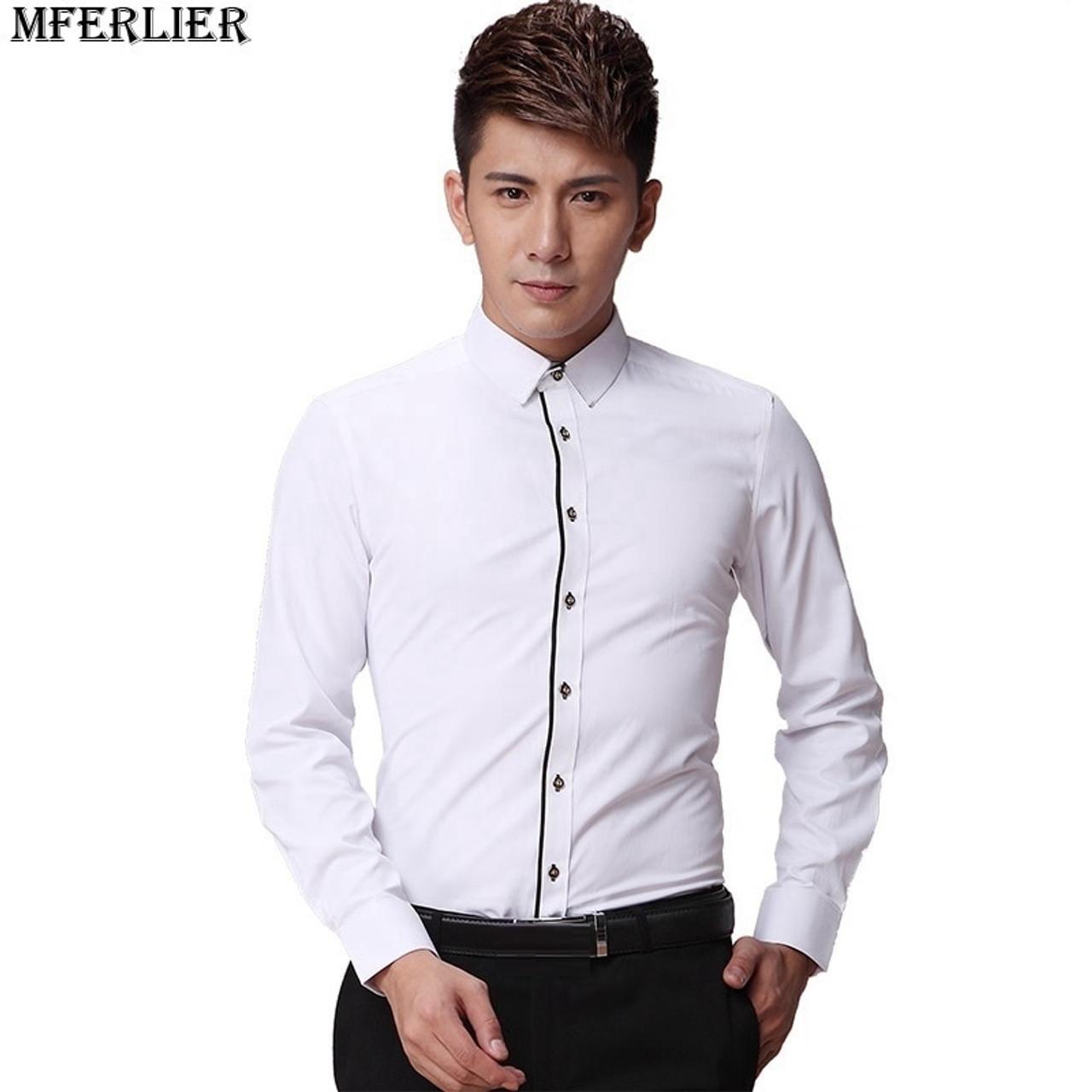 eea54800830 ... MFERLIER men formal shirt long sleeve large size big 6XL 7XL 8XL office  shirt formal Business ...
