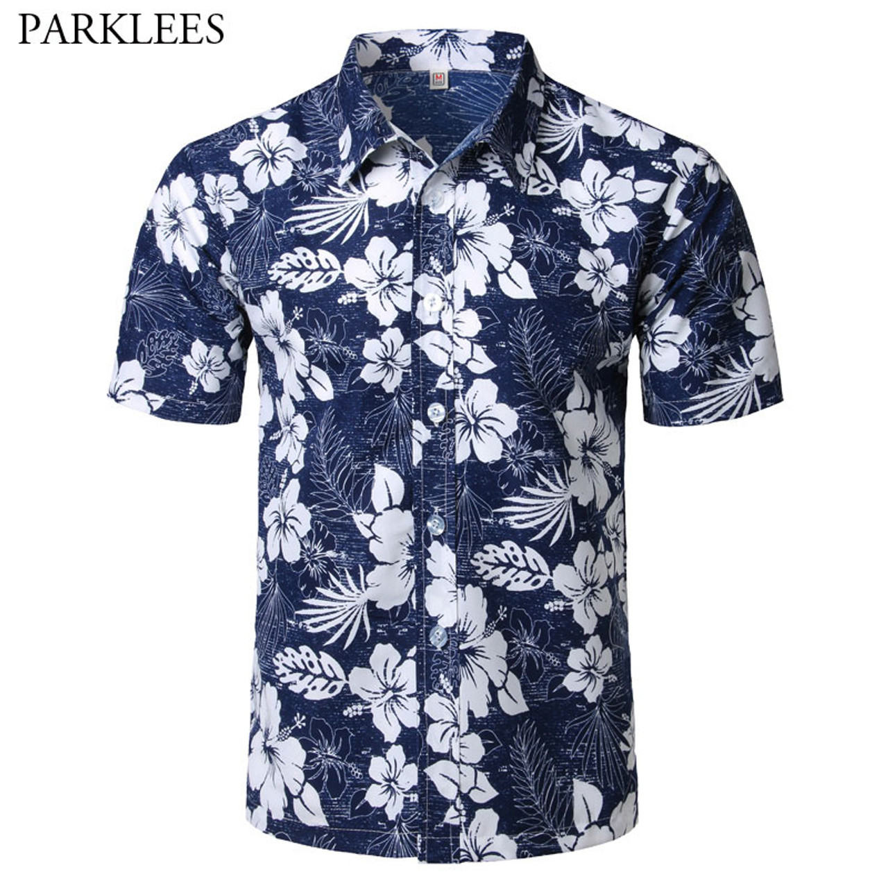 Floral Shirt Men Summer Print Turn-Down Collar Slim Fit Short Sleeve Top Shirt Blouse Men 2019