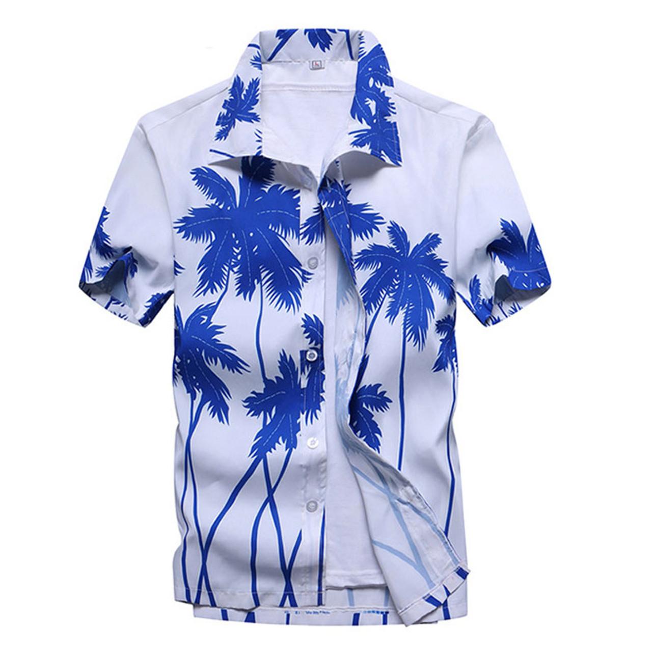 2019 Fashion Men Florals Short Sleeve Round Neck T-shirts Korean Slim Fit Summer