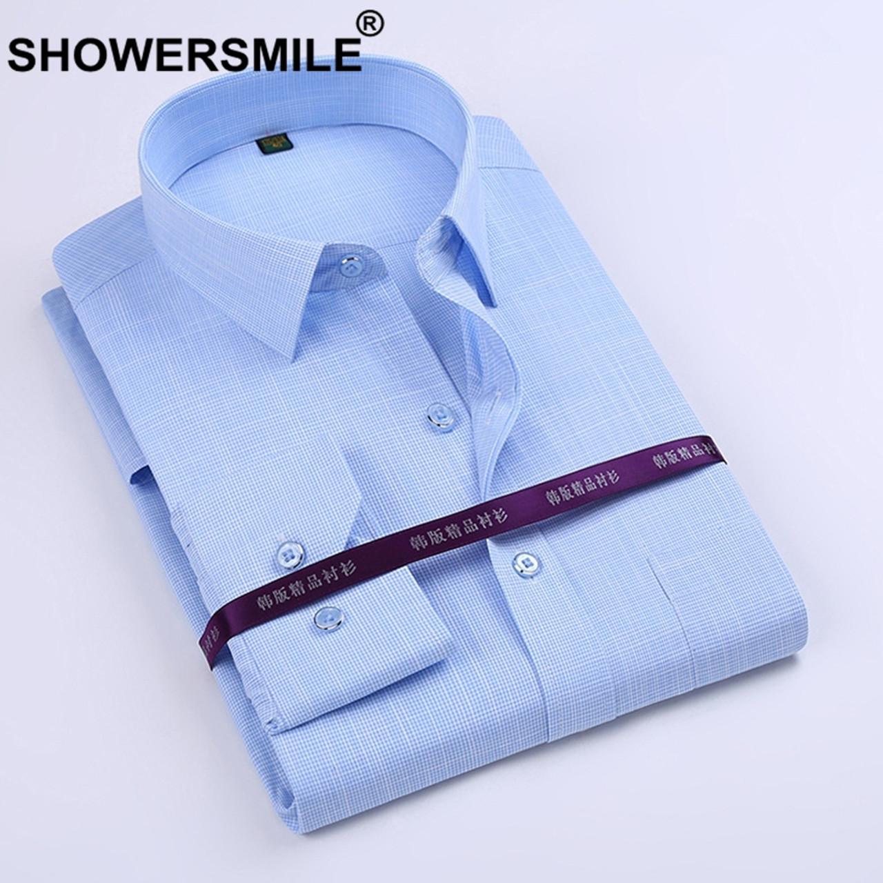 487473243e6f SHOWERSMILE Brand Bamboo Fiber Shirt Mens Long Sleeve Dress Shirts Slim Fit  Party Business Social Cotton ...