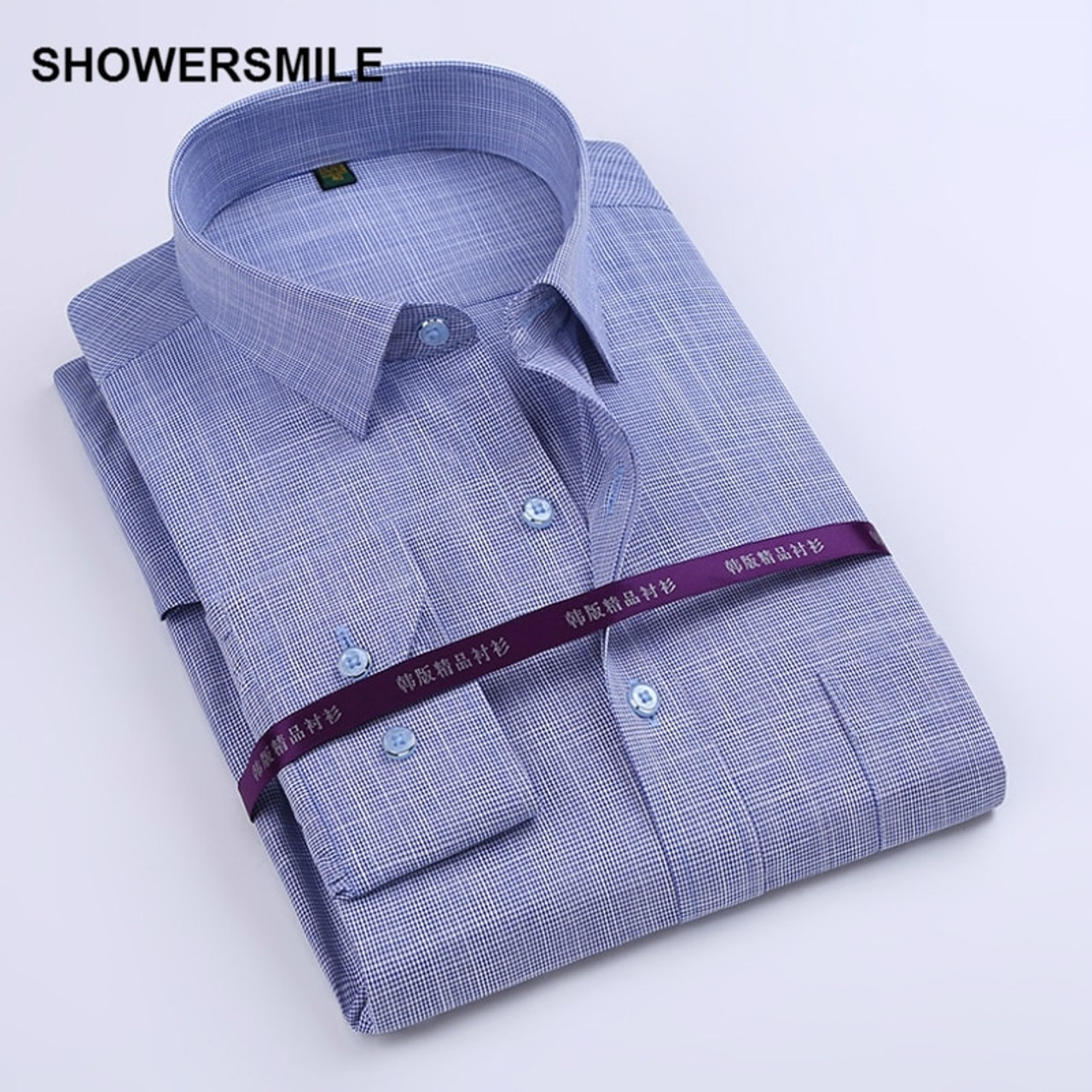 5450a97f225c ... SHOWERSMILE Brand Bamboo Fiber Shirt Mens Long Sleeve Dress Shirts Slim  Fit Party Business Social Cotton ...